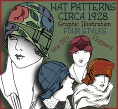 How to make FOUR 1920's Hats  Felt Cloches, Turban, Caps  Just $3.99 at eVINTAGEpatterns on etsy