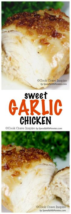 This is one of my all time favorites! Sweet Garlic Chicken is so tender with a sweet caramelized garlic crust baked up juicy in the ov n! The high oven temperature used in this recipe creates the most juicy chicken you've ever had! Turkey Recipes, Meat Recipes, Cooking Recipes, Wonton Recipes, Oven Chicken Recipes, Sweet Garlic Chicken, Foil Baked Chicken, Honey Chicken, Chicken Curry