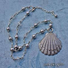 Seashell Necklace, Silver Pearl Necklace, Scallop Seashell Pendant, Seashell Jewelry, Beach Style Jewelry, Nautical Necklace.