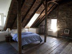 2nd floor Master bedroom with mansard and wood floors