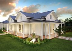 Jamberoo - Barrington Homes - Landhaus Hamptons Style Homes, Hamptons House, Facade Design, Exterior Design, House Design, Dream House Exterior, Exterior House Colors, Exterior Windows, Acerage Homes