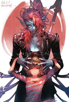 Undyne and Frisk. I don't like this picture, it makes me feel things for a damn fish lady :P