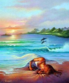 Sonhos no Oceano - Jim Warren pinta sonhos e ilusões de maneira fantástica.