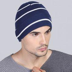Warm striped beanie hat for men winter outdoor climbing knit hats