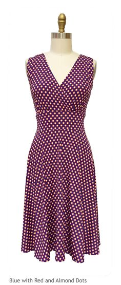 The Karina Dresses Audrey dress in Blue with Red and Almond Dots
