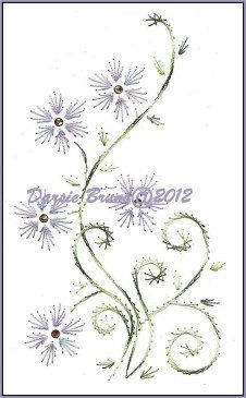 embroidered floral vine pattern | Spring Floral Daisy Vine Embroidery Pattern for Greeting by Darse
