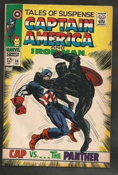 Black Panther in TALES OF SUSPENSE #98 Captain America and Iron Man 1968 Comics