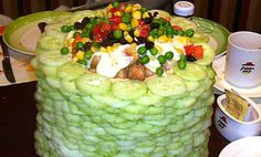 Giant Salad Towers Inspired by Pizza Hut Buffet...I guess they really love their cucumbers in China!