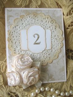RESERVE FOR JESSICA Roses and Lace Wedding Table Numbers via Etsy