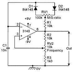 Squarewave generator with variable M/S-ratio and frequency.