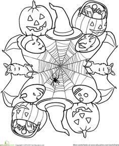 Halloween First Grade Mandalas Worksheets: Halloween Mandala