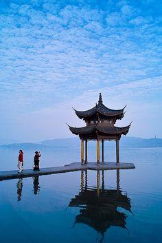 """集贤亭位于 """"世界文化遗产"""" 杭州西湖。West Lake in Hangzhou. Just a 40 minute train ride from Shanghai, I would come here every couple of months to experience some down time from the 24-7 bustle of the city. It's famous Longjin (Dragon Well) tea is what people think of when you mention Hangzhou."""