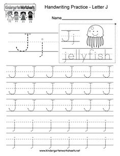 "This is a letter J tracing worksheet. Children can trace uppercase and lowercase letters and the word ""jellyfish."" You can download, print, or use it online. Free Printable Alphabet Worksheets, Tracing Worksheets, English Worksheets For Kindergarten, Handwriting Practice Worksheets, Uppercase And Lowercase Letters, Letter J, Lower Case Letters, Jellyfish, Words"