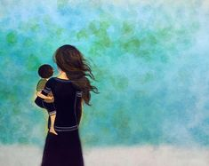 Mother And Son Discover gift for mom wall art decor love artwork gift for daughter Mother and son blue decor art print gift idea Mother Art, Mother And Child, Art Bleu, Mommy And Son, Art Mural, Mothers Love, Oeuvre D'art, Painting Inspiration, Fine Art Paper