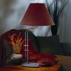 "Hubbardton Forge Metamorphic 33"" Table Lamp Finish: Mahogany, Shade Color: Eclipse Micro-suede, Shade Type: Conic"