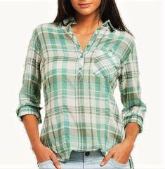 c10223b9c4 Kuhl Spektra Shirt NEW Womens S 4 6 Plaid Green White Tab Sleeve Tencel  Hiking #Kuhl #Blouse