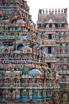 Esta gran composición de esculturas hindúes  que adornan las paredes del templo Sri Ranganathaswanny,que es el templo más grande del mundo en funcionamiento de 3 kilómetros cuadrados me ha gustado mucho por la composición de muchas formas tan armónicas y sobre todo por la utilización de colores tan llamativos.