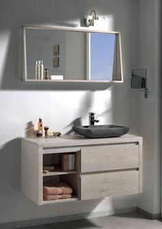 Salle de bains STONE Chêne blanchi et pierre naturelle. / de chez Cocktail Scandinave mobilier & décoration d'intérieur