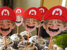 Fun Mario Inspired photo cupcake toppers for your Super Mario Brothers fan's next birthday! Comes 16 on a sheet. Simply print, cut out (small scissors work best!) and glue to toothpicks or sucker sticks. Need more than 16? You'll have the digital file to print as many as you need! ****PLEASE NOTE that you are purchasing a customized digital file - nothing will be sent physically. You will receive a digital file VIA EMAIL with 16 images on a page for you to print, cut out and as..