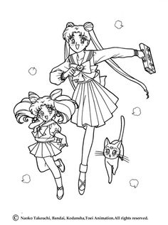Sailor Moon going to school coloring page. More Manga coloring sheets on hellokids.com
