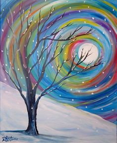 Colorful swirly sun, snow and winter tree beginner painting idea. Painted by Diane McCarthy for Wine and Canvas