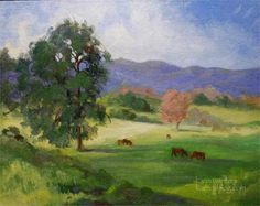 Valley Girls - Landscape oil painting - Cows on ranch in Central California