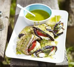 Melting-middle aubergine parcels: barbecue-friendly parcels filled with mozzarella and dressed with pesto sauce