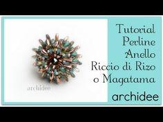 Anello Riccio di Rizo o di Magatama + SuperDuo o Twin Beads | Tutorial Perline | DIY Beadwork - YouTube
