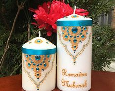 Eid, Ramadan, Ramadan Mubarak, Ramadan Kareem, Eid Mubarak Candles, Eid Gift Idea, Ramadan Gift, Eid/Ramadan Decor, Muslim Decor Eid Ramadan, Mubarak Ramadan, Ramadan Gifts, Eid Saeed, Muslim Eid, Henna Candles, Ramadan Decorations, Diy Home Crafts, Candle Making