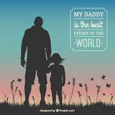 Fathers day card with human silhouettes Free Vector