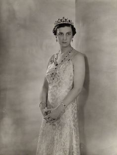 Princess Marina, Duchess of Kent, wearing the Cambridge Sapphire Parure as a young bride in 1936, photo possibly by Cecil Beaton, and looking gorgeous.