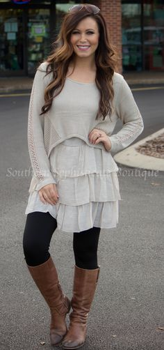 Taupe Ruffle Tunic / Southern Sophisticate Boutique