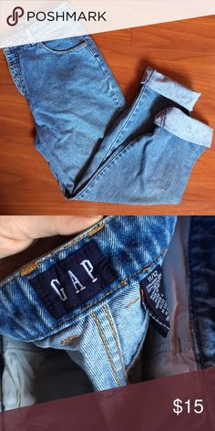 Vintage GAP High Waisted Mom Jeans Size 11/12, really cute vintage GAP Jeans. Has one little bleach spot on one leg (pictured) but if you plan on distressing these then it's not too bad! Let me know if you have any questions! GAP Jeans