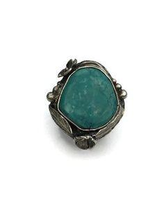 Boho Turquoise ring, Real Turquoise ring, nature jewelry, gemstone ring, cocktail ring, bohemian ring by MandanaStudios on Etsy