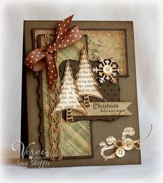 Christmas Blessings by PickleTree - Cards and Paper Crafts at Splitcoaststampers Cute Cards, Diy Cards, Rustic Christmas, Christmas Crafts, Vintage Christmas, Handmade Christmas Cards, Christmas Collage, Christmas Colors, Christmas Trees
