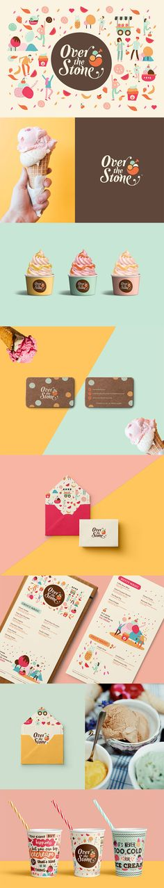 Cream Branding And Packaging: A Collection of 50 Deliciously Creative Designs Over the Stone BrandingOver the Stone Branding Web Design, Design Logo, Brand Identity Design, Identity Branding, Food Branding, Branding Ideas, Corporate Identity, Brand Design, Personal Branding