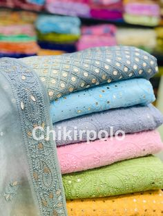 Lucknow Chikan Exclusif Shop no Naveen Market, Kanpur Gotta Patti Mukaish Chikankari Pure Georgette Suits Buy online or in store Or order on call/whatsapp Indian Dress Up, Indian Fashion Dresses, Fancy Dress Design, Bridal Dress Design, Chikankari Suits, Simple Kurti Designs, Pakistani Formal Dresses, Indian Designer Suits, Sleeves Designs For Dresses