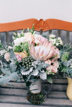 Grey and dusty pink textural wedding bouquet Protea Wedding, Floral Wedding, Wedding Grey, Summer Wedding, Rustic Wedding, Wedding Centerpieces, Wedding Decorations, Wedding Ideas, Boutonniere