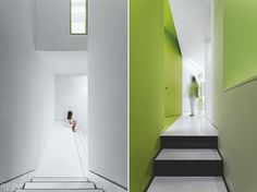 Healthcare design typically prioritizes privacy, but at Clemente Dental, a new clinic in Madrid, the client asked that transparency be gi. New Interior Design, Interior Design Magazine, Polyurethane Floors, Dental, Madrid, Healthcare Design, Shades Of Green, Rey, Interior Inspiration