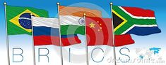 BRICS coutries illustration with flags, Brazil, Russia, India, China and South Africa