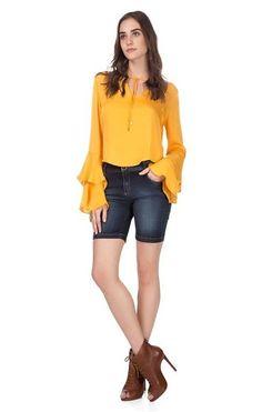 Qual sua cor favorita ?   Bermuda Jeans Slim Cós Alto  MAIS DETALHES!  http://imaginariodamulher.com.br/look/?go=2bNJof1