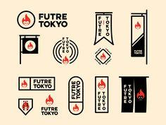 Futre Tokyo explorations by Jay Master Typography Logo, Logo Branding, Branding Design, Lettering, Badge Design, Label Design, Package Design, Brainstorm, Type Logo