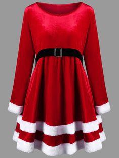 Christmas Plus Size Velvet Long Sleeve Dress - RED XL