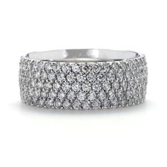 Greenwich Ceremony Collection Five Row Pave Diamond Band | Greenwich Jewelers