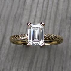 Emerald Moissanite Feather Engagement Ring: Yellow, White, or Rose Gold; Forever Brilliant