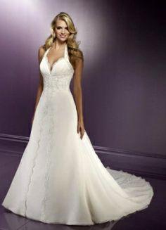 A-Line Halter Top Chapel Train Chiffon Unique  Wedding Dress For Brides
