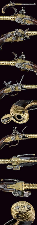 A very scarce Lorenzoni type flintlock pistol    provenance: Germany dating:  mid-18th Century