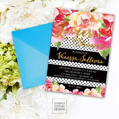 Floral Black Stripe Bridal Shower Invitation - Polka Dots Peony and Faux Gold Foil Watercolor Floral Boho Shower Invitation Printable