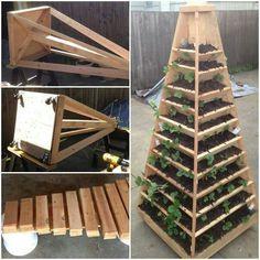 Creative DIY Vertical Gardens For Your Home --> Vertical Pyramid Tower Garden Planter Jardin Vertical Diy, Vertical Planter, Vertical Garden Diy, Vertical Gardens, Tiered Planter, Planter Boxes, Garden Planters, Herb Garden, Vegetable Garden