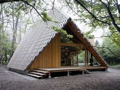 Contemporary take on A-frame. Architect Kengo Kuma's Y-Hütte, in Eastern Japan: